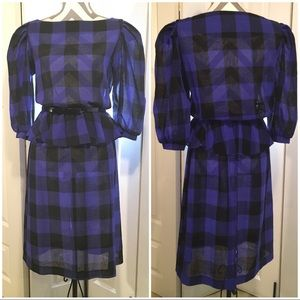 Vintage checkered peplum dress size Medium